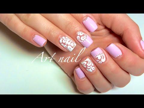 Вензеля белые на ногтях
