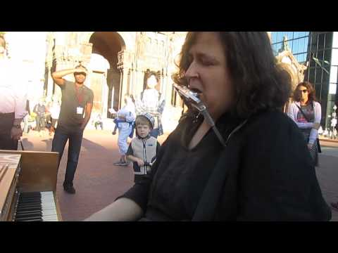 "Rachel Kaufman on the Boston street piano in Copley Square: ""Piano Man"""