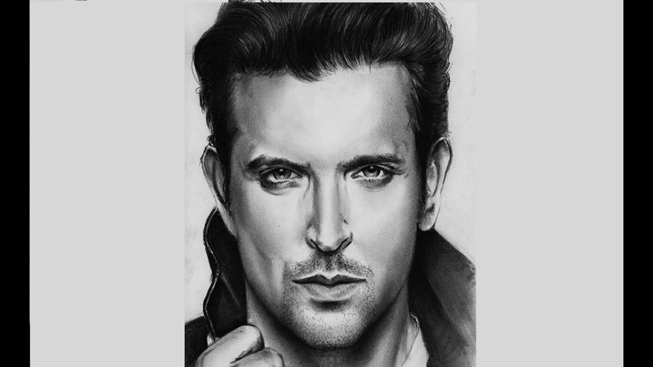 Portrait hritik roshan with pencil