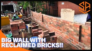 LARGE BOUNDARY WALL PART 2.... BRICKWORK UP TO TRESTLE HEIGHT WITH NEW BRICK