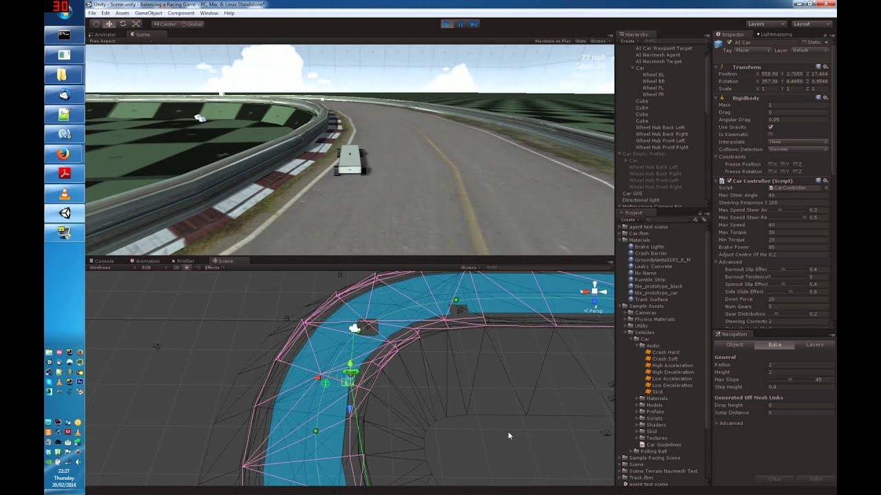 Unity - AI Car on circuit avoiding dynamic obstacles