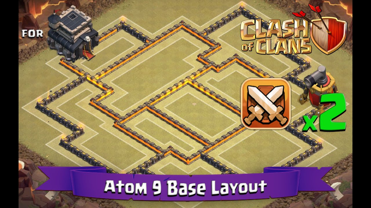 Clash of clans th9 best clan war base layout 2 x air sweepers