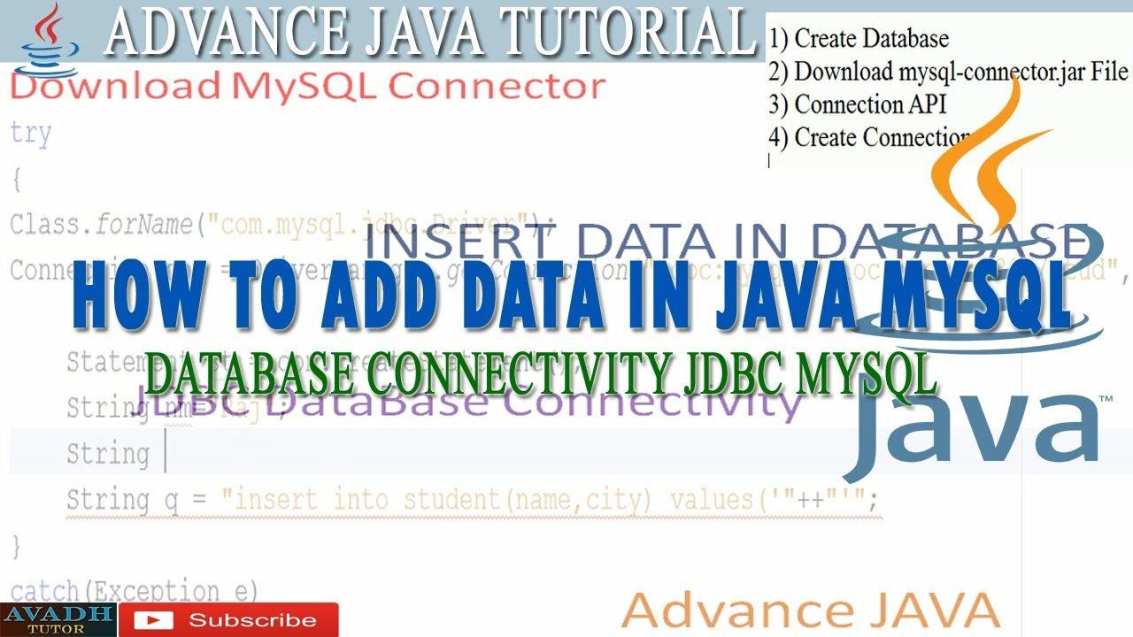 insert data in database using jdbc mysql || how to connect java with mysql  || jdbc in java
