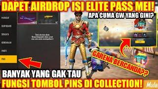 "Dapet Airdrop Elite Pass ""mei"" & Fungsi Tombol ""pins"" Di Collection!! - Garena Free Fire"