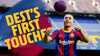 ⚽ SERGIÑO DEST touches the ball for the first time at Camp Nou!