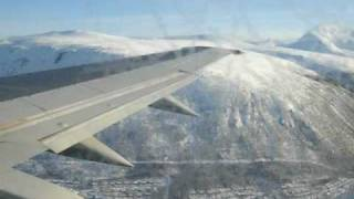 Landing at the Tromsø airport in winter