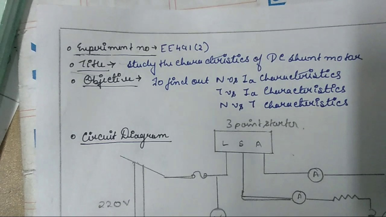hight resolution of characteristics of dc shunt motor experiment