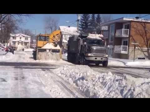 Snow Removal Action  At Longueuil Quebec Canada