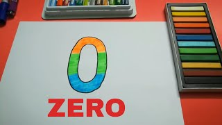 HOW TO DRAW ZERO 0 FOR KIDS STEP BY STEP l DRAWING ZERO