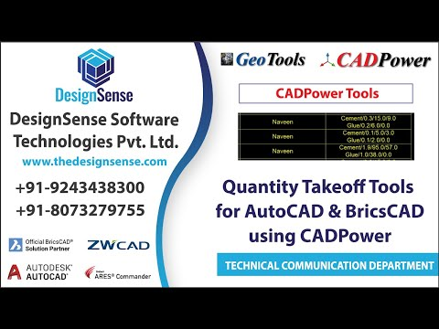 Quantity Takeoff Tools for AutoCAD & BricsCAD, from CADPower