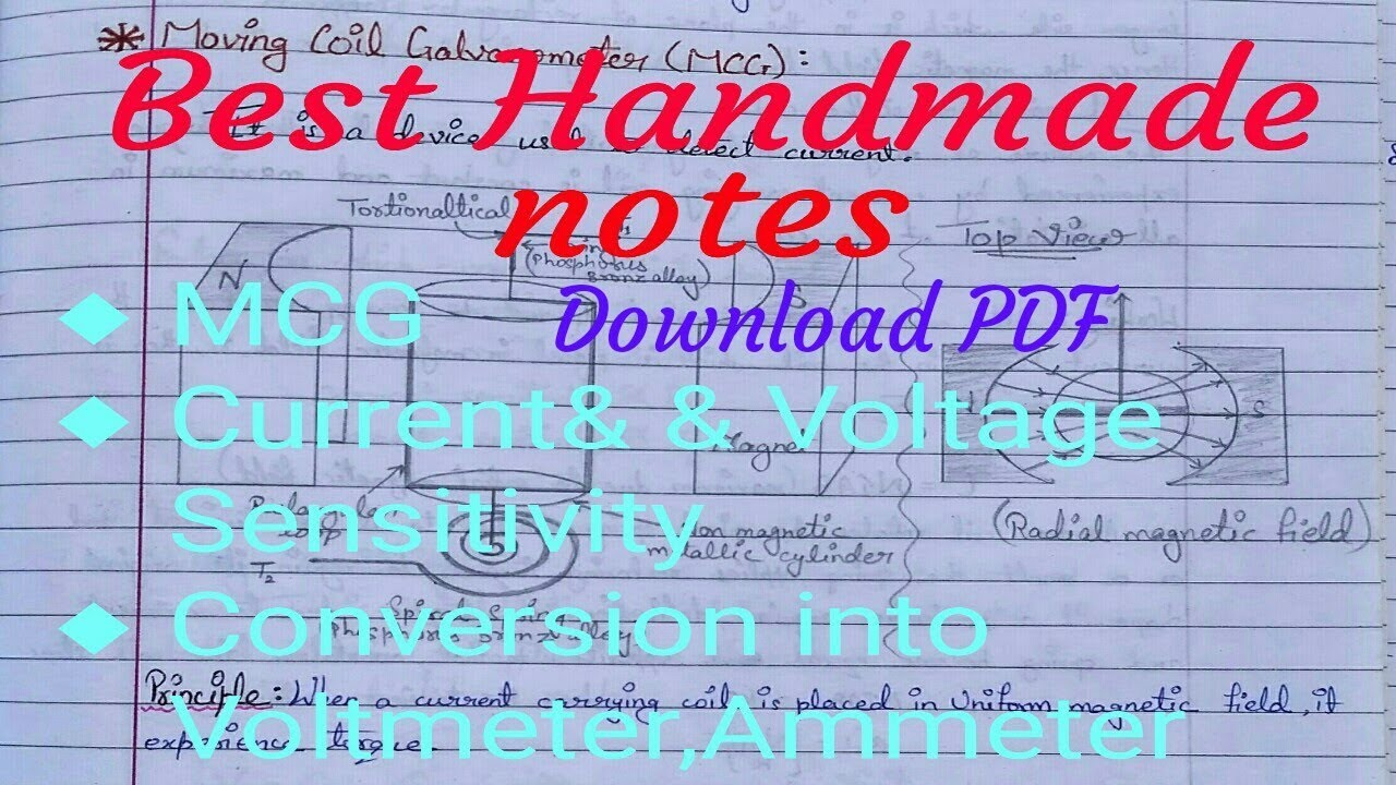 Physics Class 12 Unit 3 Chapter 4   Moving coil galvanometer Handmade Notes    Derivation
