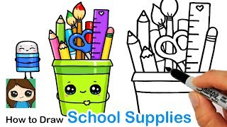 How to Draw a Cup of Back To School Supplies Easy