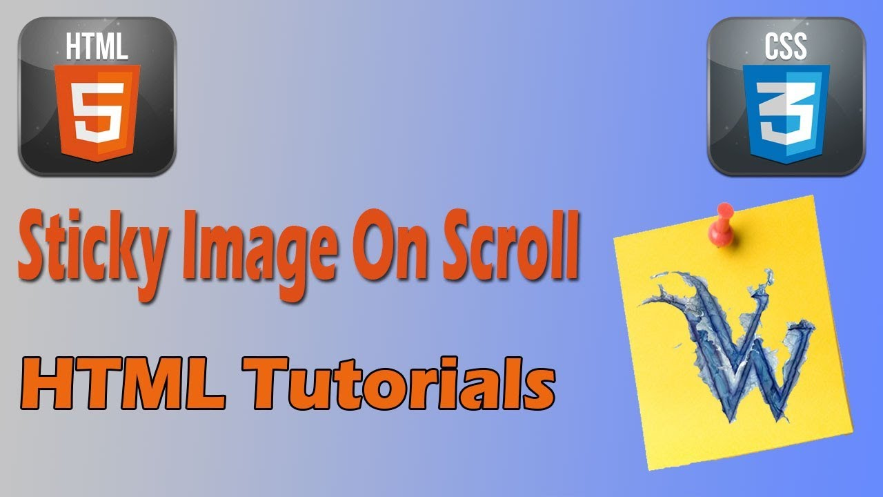 html fixed image scrolling page | sticky position in css | css sticky note  effect