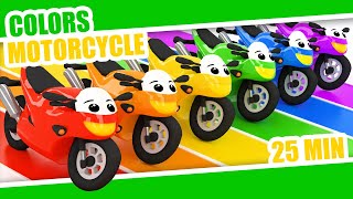 LEARN COLORS MOTORCYCLE | MOTORBIKE | Color Rainbow | Kids Babies Colors