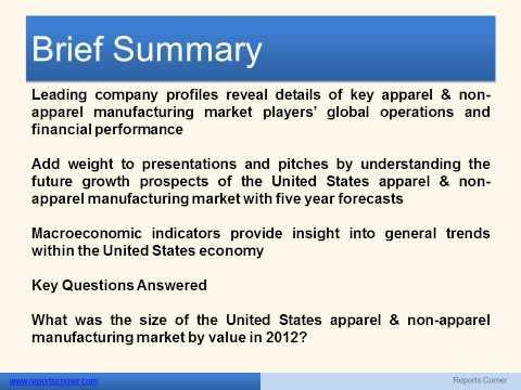 Apparel & Non Apparel Manufacturing in the United States - Reports Corner