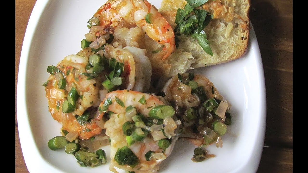 Shrimp Scampi with Garlic Scapes - YouTube