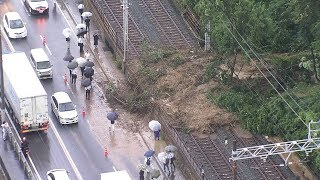 土砂が流入した山陽電鉄線路 神戸市