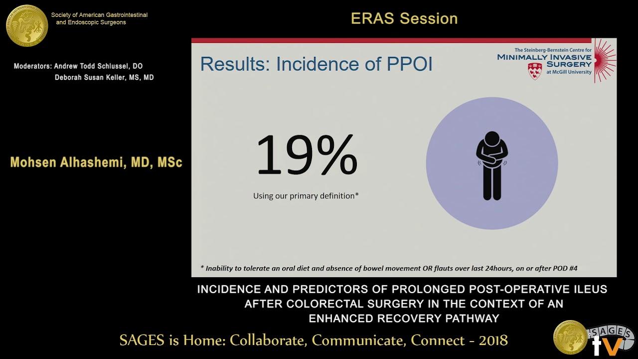 Incidence & predictors of prolonged post-op ileus after