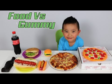 Download Youtube: FOOD Vs Giant GUMMY Kids Fun Challenge Giant Candy sweets Food Tasting  Game Ckn Toys