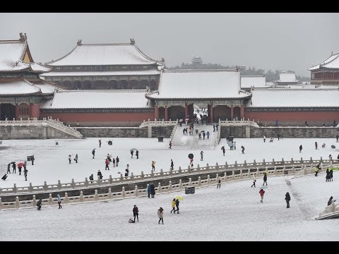 Snow-covered Forbidden City in Beijing