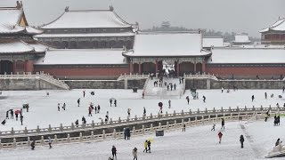Snow-covered Forbidden City in Beijing