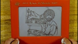Bob Ross Portrait on ETCH-A-SKETCH