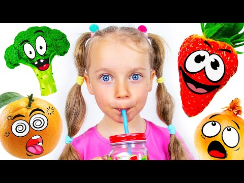 Gaby and Mom in the yummy Fruits & Vegetables challenge with dance