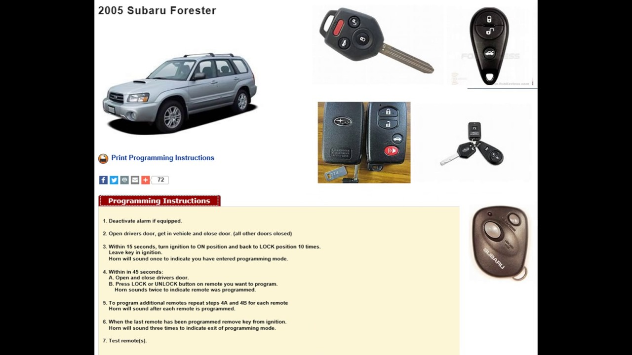 How to program remote key subaru forester imprezia