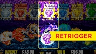 5 Dragons Gold Slot Machine Mystery Bonus *RETRIGGER* $5 Max Bet!