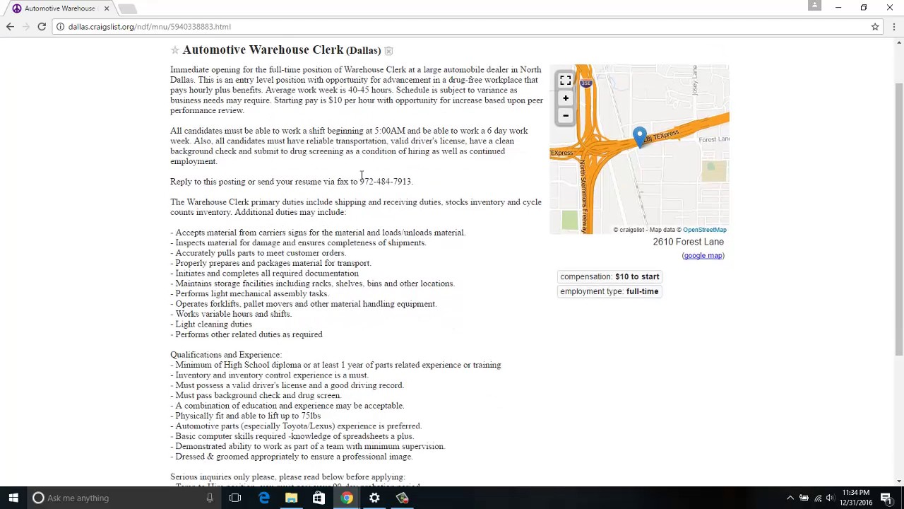 Dallas Craigslist Job Ads 12/31/2016 - YouTube