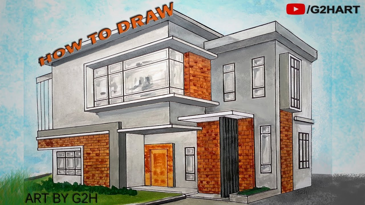 Architecture modern house 3d drawing 2 point perspective for Architecture modern house design 2 point perspective view