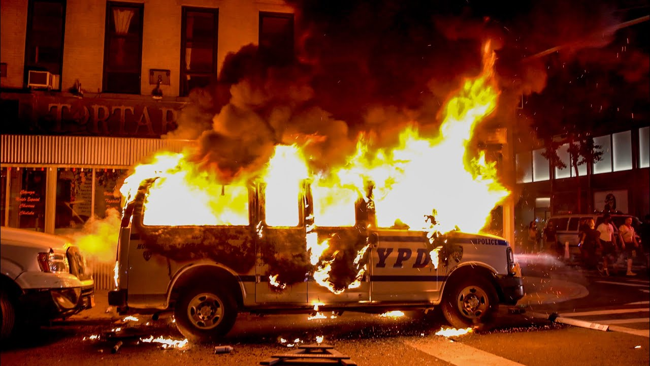 NYC RIOT MAYHEM 4 NYPD CARS BURN and EXPLODE and Protestors Block FDNY  Cop Reported Trapped Inside