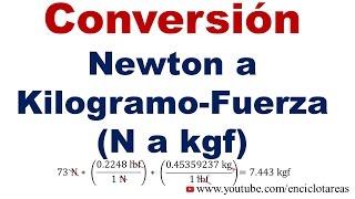Convertir de Newton a Kilogramo-Fuerza (N a Kgf)