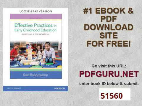 Effective Practices In Early Childhood Education Building A