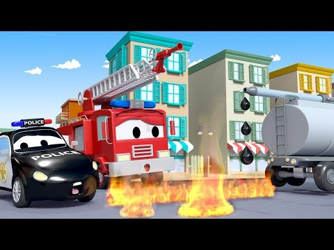OH NO, FIRE ! Tyson the Tanker is leaking gas - The Car Patrol in Car City l Cartoons for Children