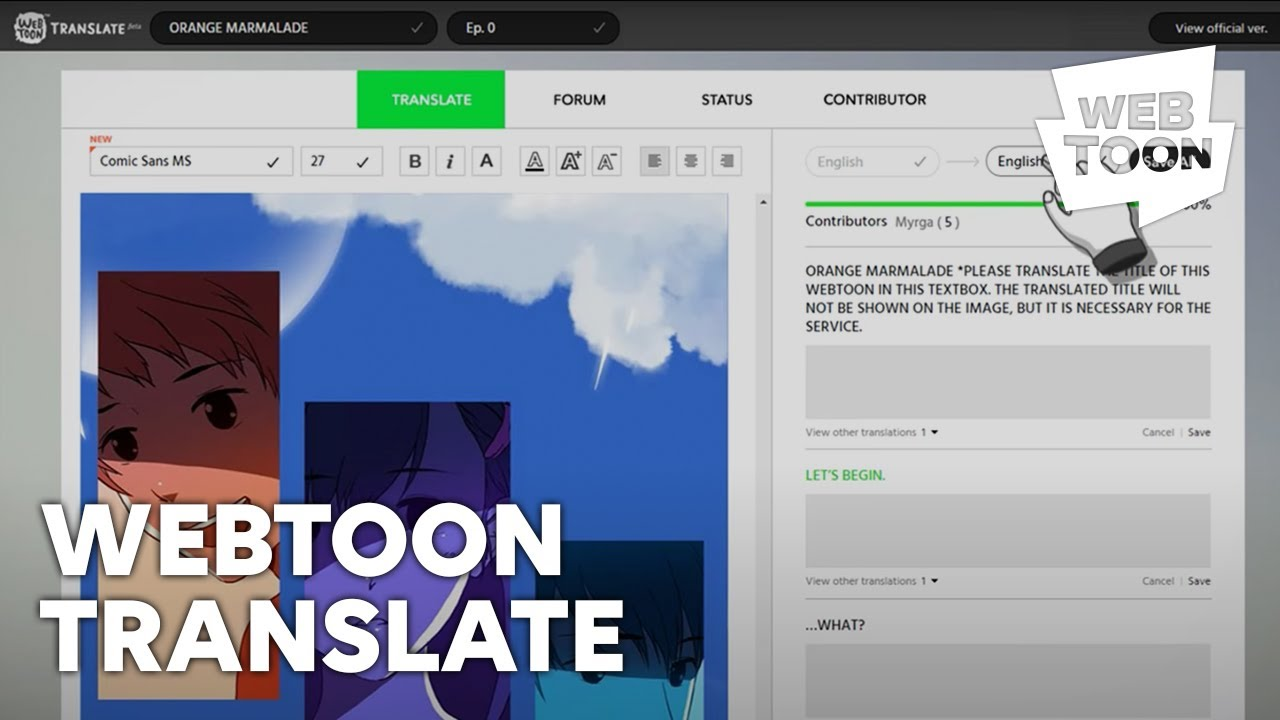 Introducing official translation service, 'Webtoon TRANSLATE'