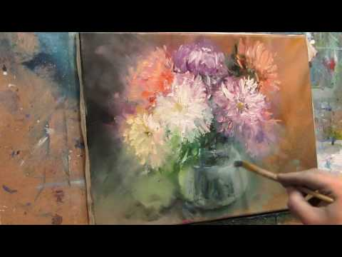 Oil painting. The flowers.