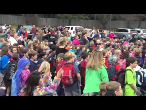Fayetteville Elementary School surpasses goal, staff members perform rooftop dance