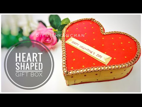 How To Make A Heart Shaped Paper Gift Box - Heart Box - Paper Craft / DIY Valentine's Day Gift Box