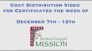 Coat Distribution Video for Certificates the week of December 7th -12th