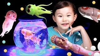 라임이의 슈퍼피쉬 니모 해파리 인어공주 벨라 상어 라이팅 수족관 장난감 놀이 LimeTube & Toy 라임튜브