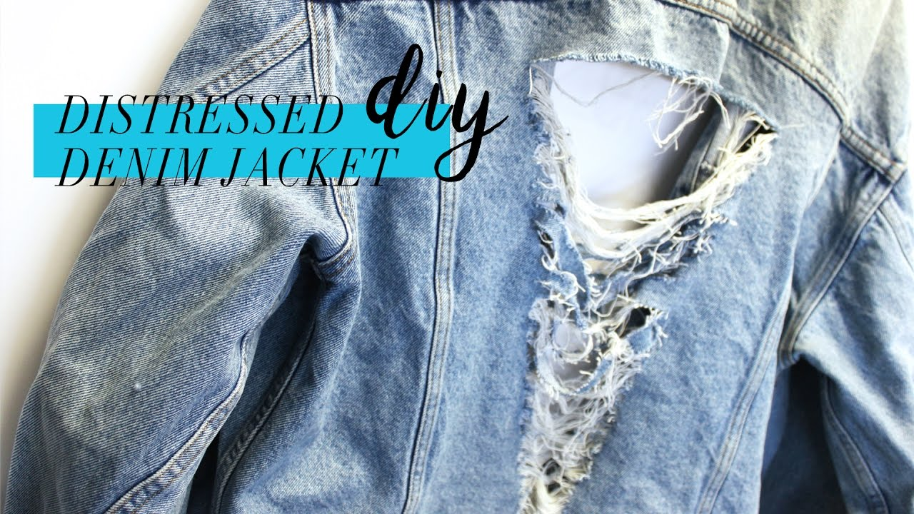 Diy Distressed Denim Jacket Tumblr Inspired Beprismatic Youtube