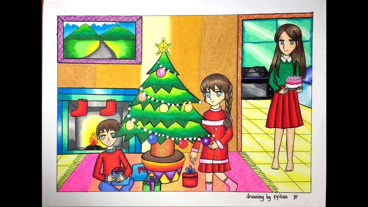 Cara Gradasi Warna Tema Natal Drawing Christmas Youtube