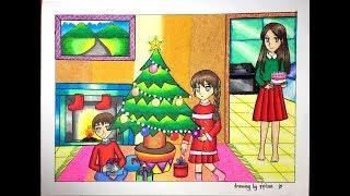 """Cara gradasi warna Tema """" Natal """" ( Drawing Christmas )"""