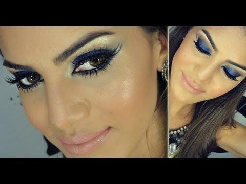 Maquiagem festa vestido azul royal