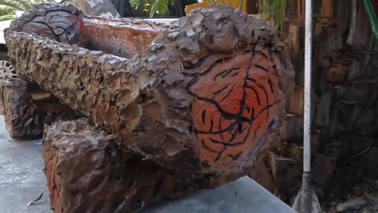 Como fazer Floreira de cimento e isopor tipo tronco de