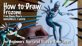 How to Draw Frozone from The Incredibles for beginners with short time lapse