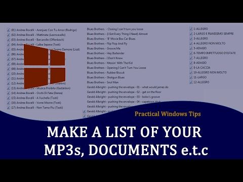 Create a text file listing of MP3, PDF, DOC files -How tomake a  list of directory files
