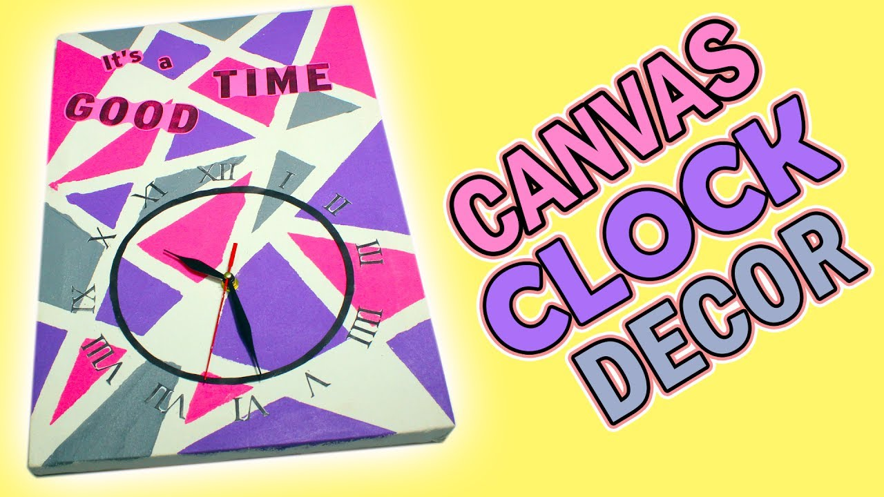 DIY Wall clock with Tape canvas painting Art / easy crafts for room ...