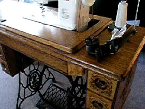 Janome 40T In A Treadle Cabinet YouTube Fascinating Trundle Sewing Machine
